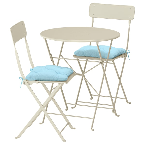 Sensational Table 2 Folding Chairs Outdoor Saltholmen Beige Kuddarna Blue Light Blue Squirreltailoven Fun Painted Chair Ideas Images Squirreltailovenorg