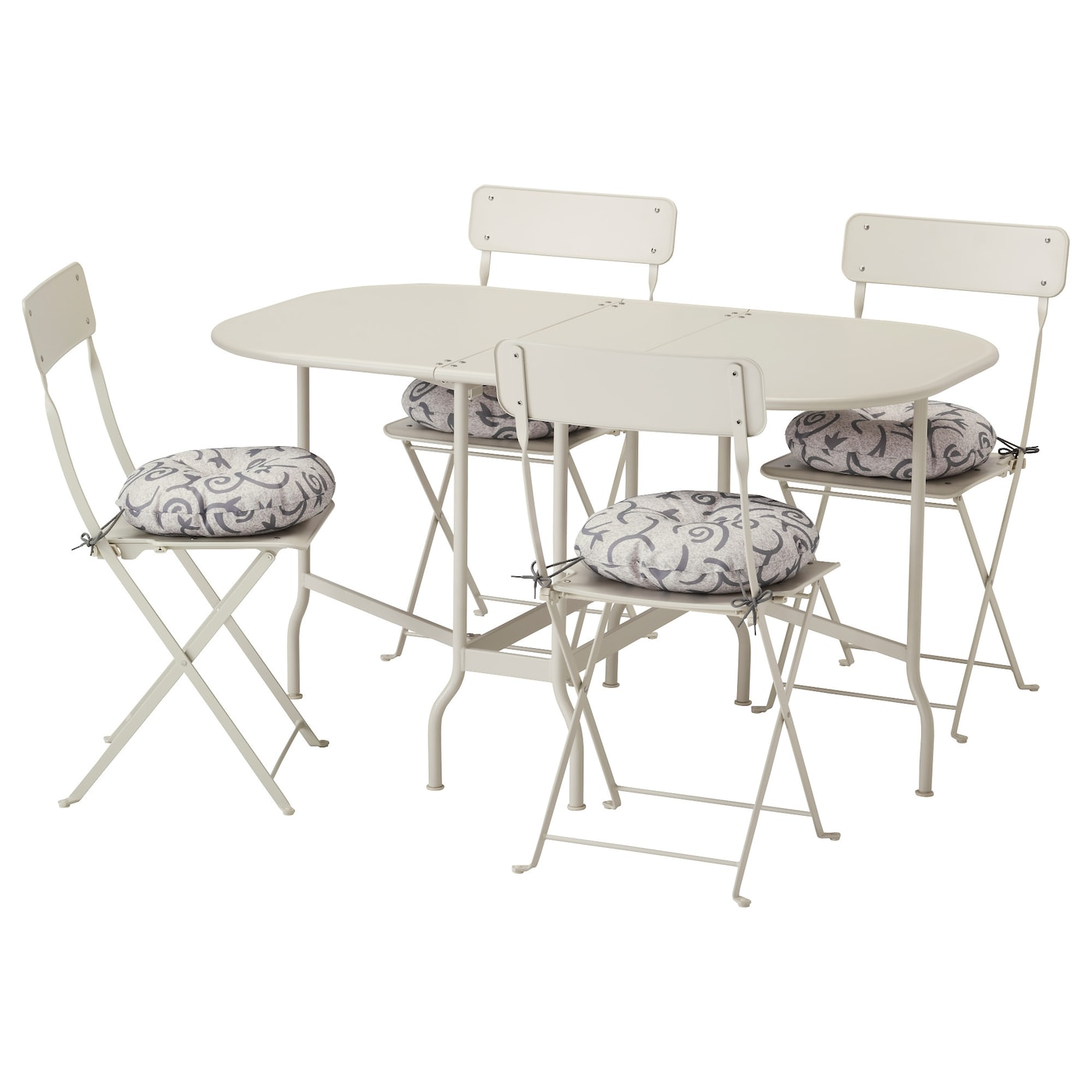 SALTHOLMEN Table 4 folding chairs outdoor Beige stegön beige IKEA