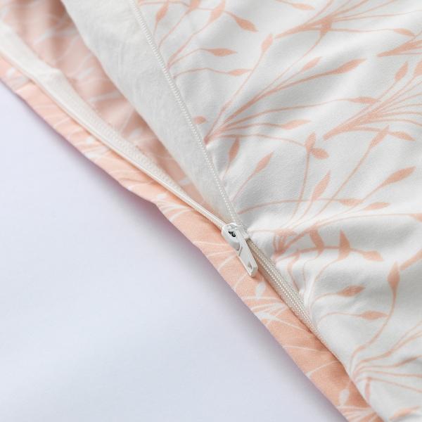 SALTÖRT Duvet cover and 2 pillowcases, pink/white, 240x220/50x80 cm