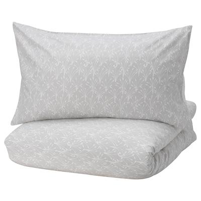 SALTÖRT quilt cover and 2 pillowcases grey/white 2 pack 200 cm 200 cm 50 cm 80 cm