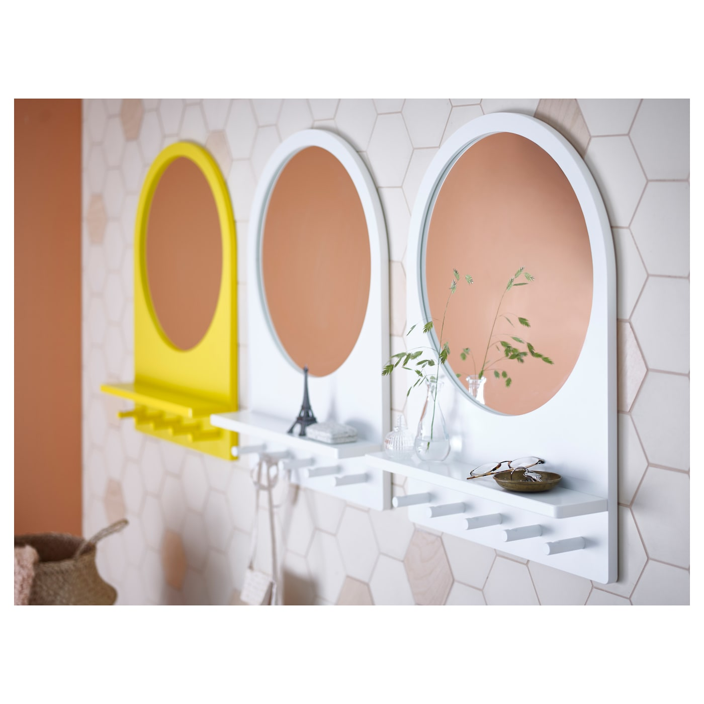 IKEA SALTRÖD mirror with shelf and hooks