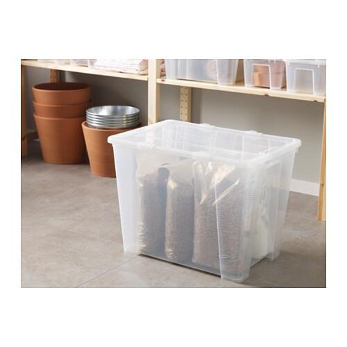 samla box transparent 56x39x42 cm 65 l ikea. Black Bedroom Furniture Sets. Home Design Ideas