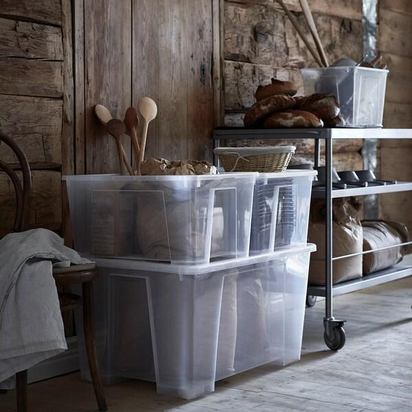 SAMLA box with lid transparent 79 cm 57 cm 43 cm 130 l