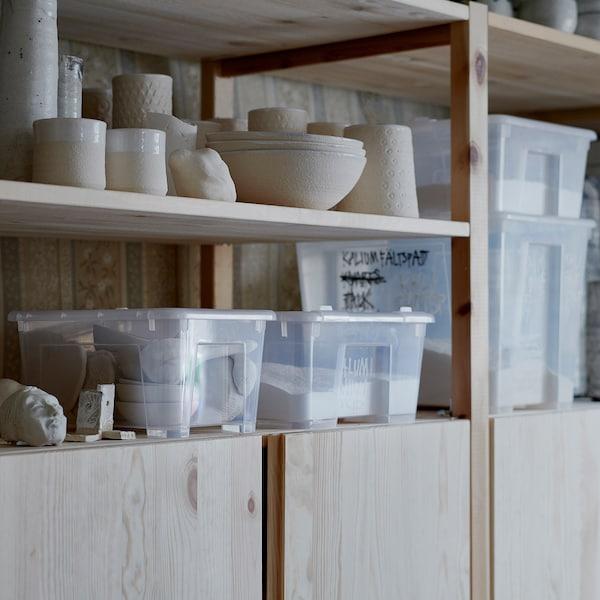 SAMLA Box with lid, transparent, 39x28x14 cm/11 l