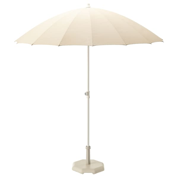 SAMSÖ Parasol with base, beige/Huvön grey-beige, 200 cm