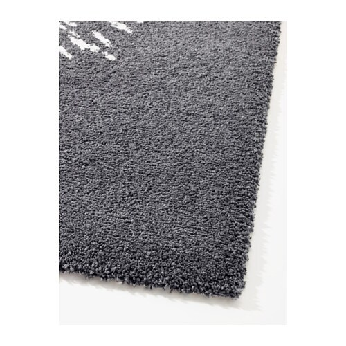Sanderum Rug High Pile Grey White 200x200 Cm Ikea