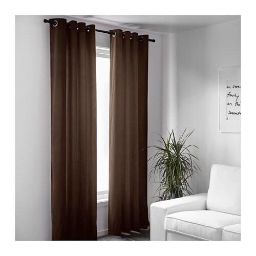 Sanela curtains 1 pair brown 140x300 cm ikea - Ikea rideaux velours ...