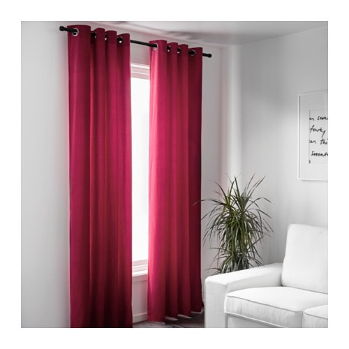 Sanela Curtains 1 Pair Dark Pink 140x300 Cm Ikea