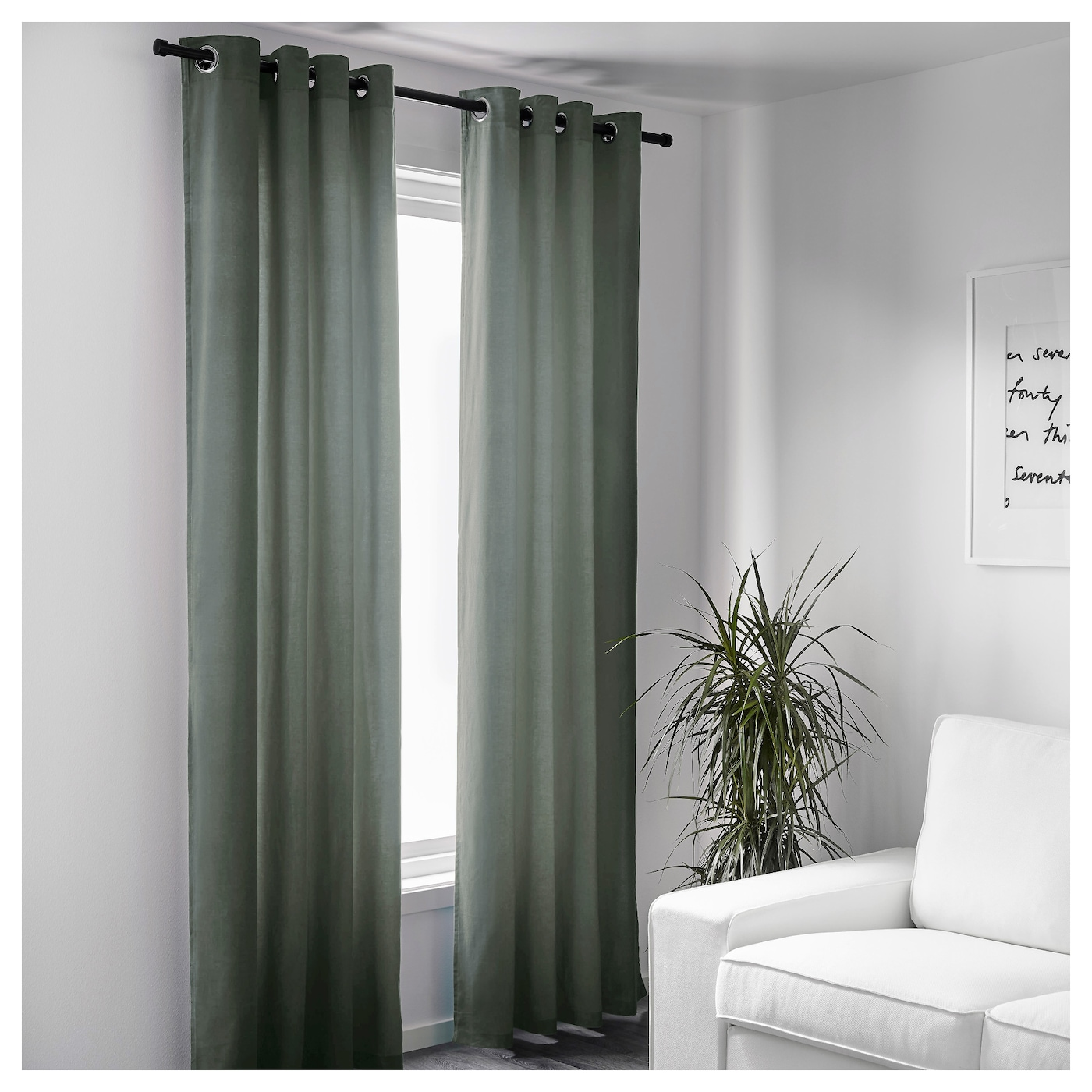 sanela curtains 1 pair grey green 140 x 250 cm ikea. Black Bedroom Furniture Sets. Home Design Ideas