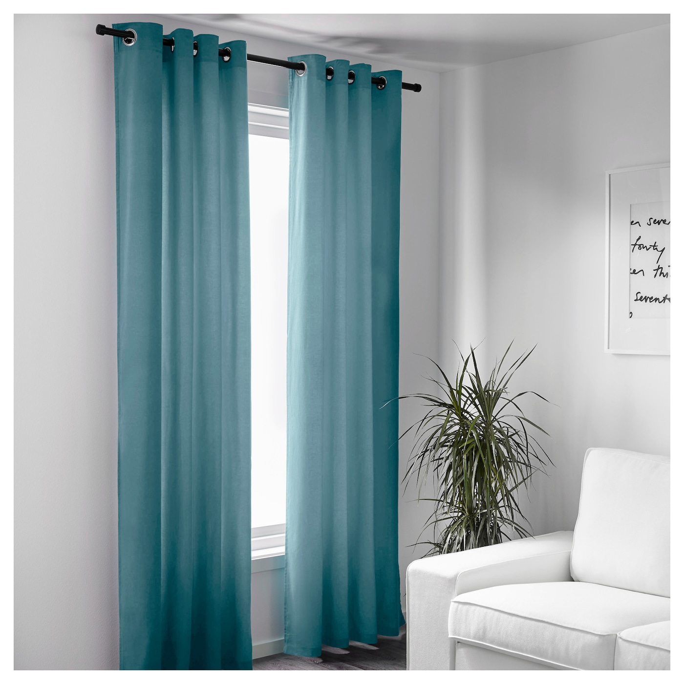 SANELA Curtains 1 Pair Light Turquoise 140x250 Cm