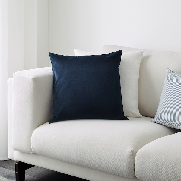 SANELA cushion cover dark blue 50 cm 50 cm