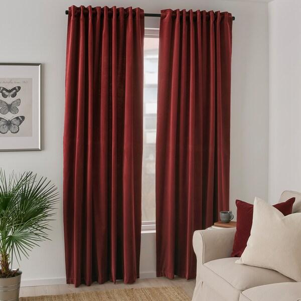 SANELA Room darkening curtains, 1 pair, red-brown, 140x250 cm