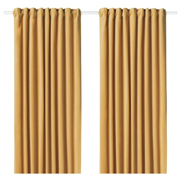 Sanela Room Darkening Curtains 1 Pair Golden Brown Ikea