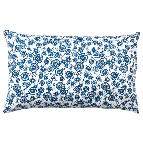 SÅNGLÄRKA Cushion, flower/blue white, 58x30 cm