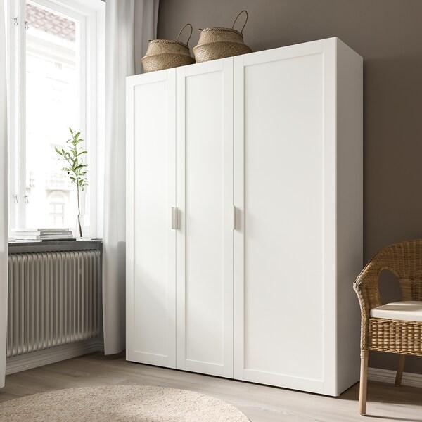 SANNIDAL Door with hinges, white, 40x180 cm