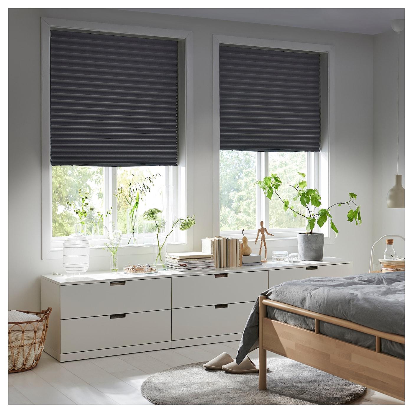 Schottis Block Out Pleated Blind Dark Grey 100 X 190 Cm Ikea