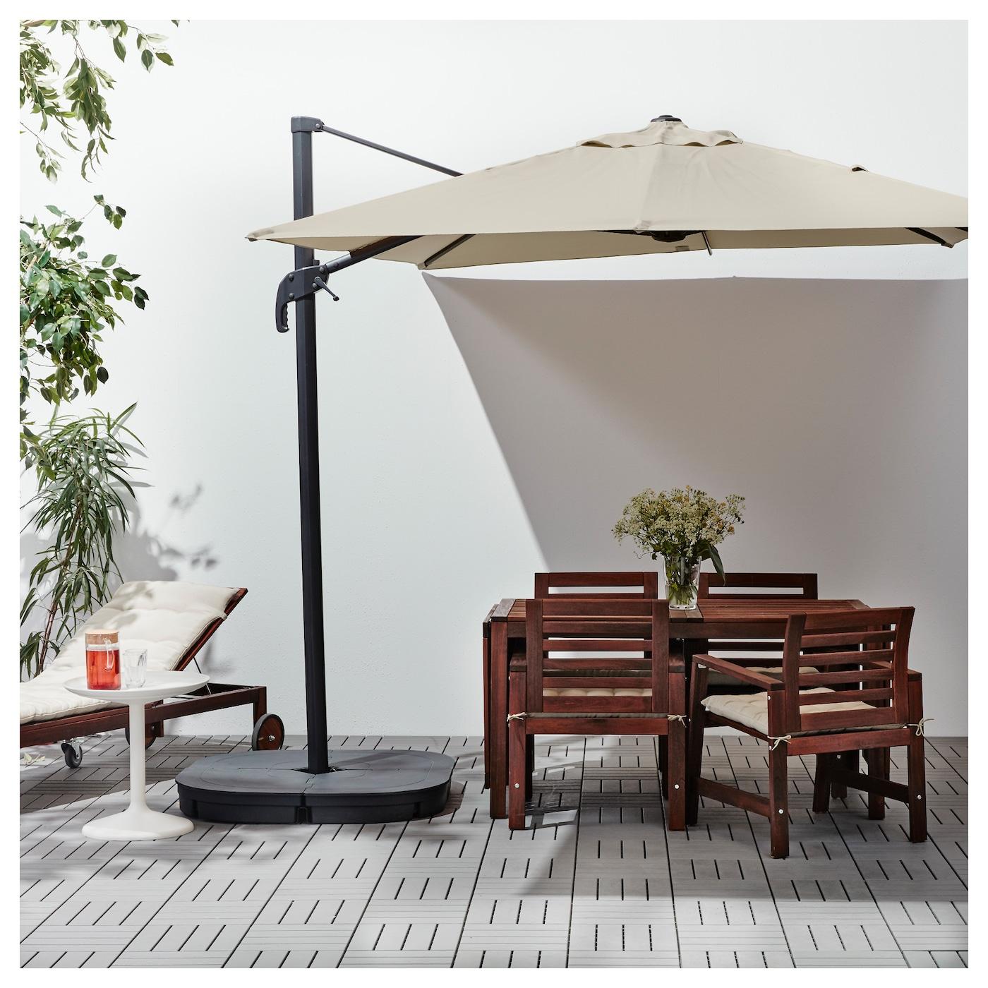 seglar svart parasol hanging with base tilting beige dark grey 330x240 cm ikea. Black Bedroom Furniture Sets. Home Design Ideas