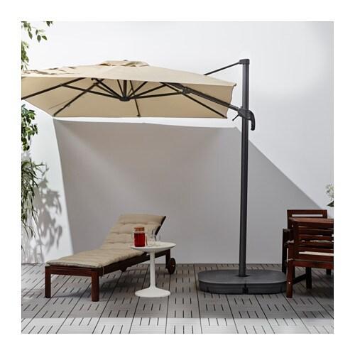 Seglar svart parasol hanging with base tilting beige - Parasol deporte ikea ...