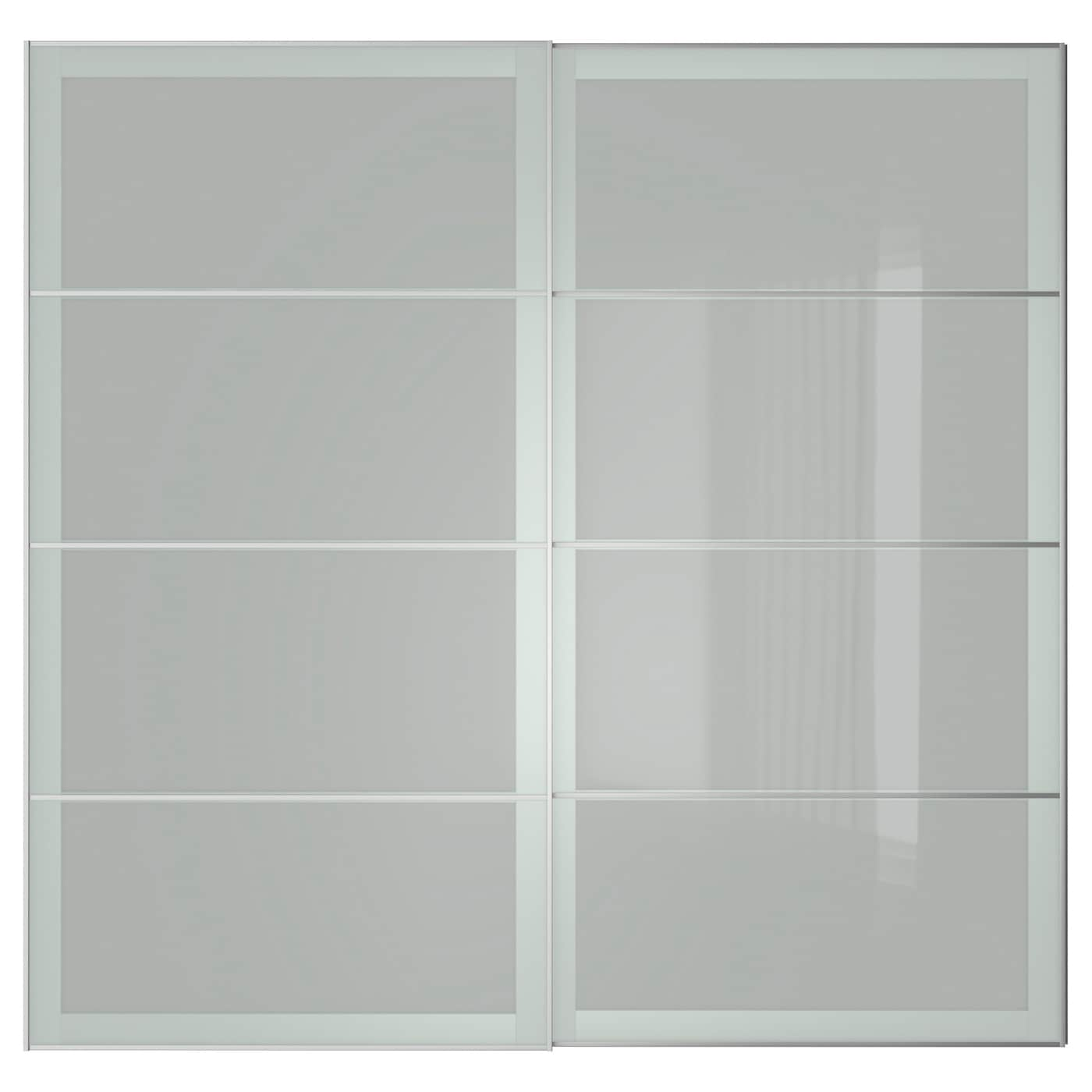 Sekken pair of sliding doors frosted glass 200x201 cm ikea for Frosted glass sliding doors