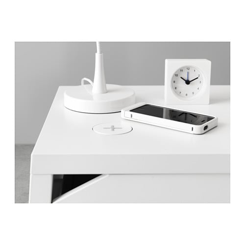 selje bedside table w wireless charging white 46x37 cm ikea. Black Bedroom Furniture Sets. Home Design Ideas