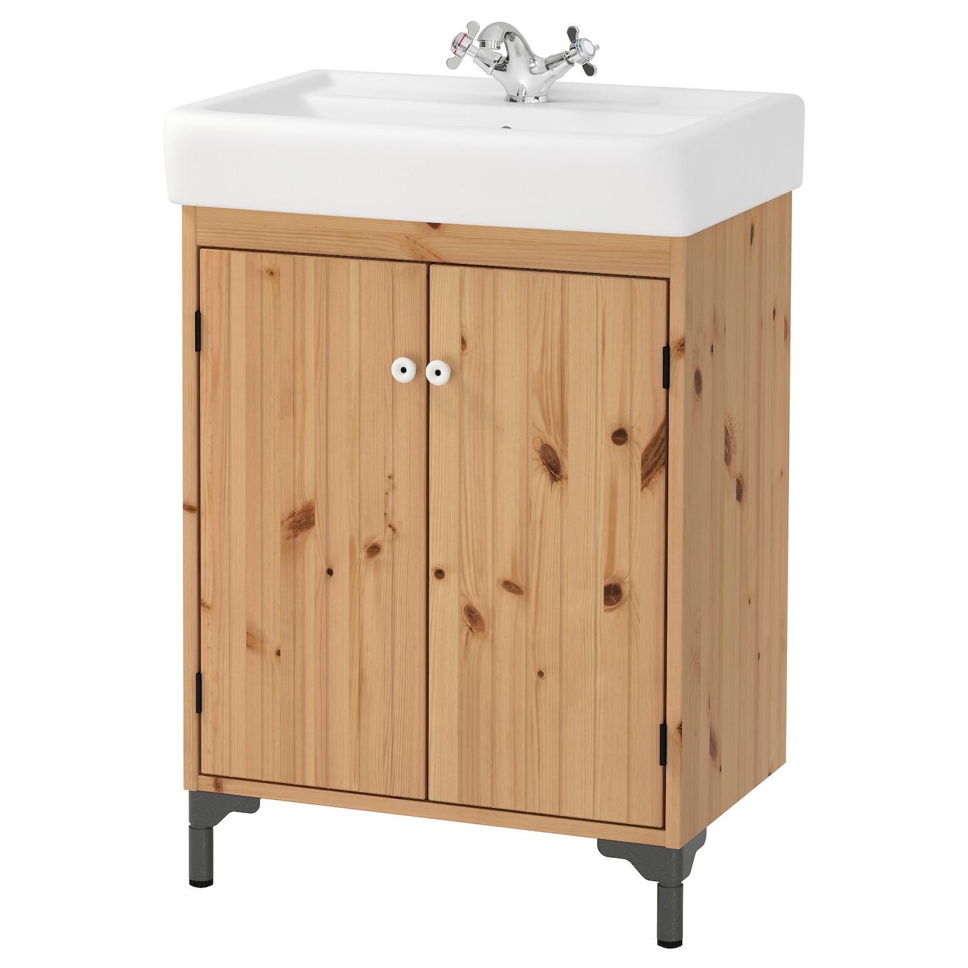 SILVERÅNHAMNVIKEN Washbasin cabinet with 2 doors Light brown 60x45x91 cm   # Wasbak Lamp_182834