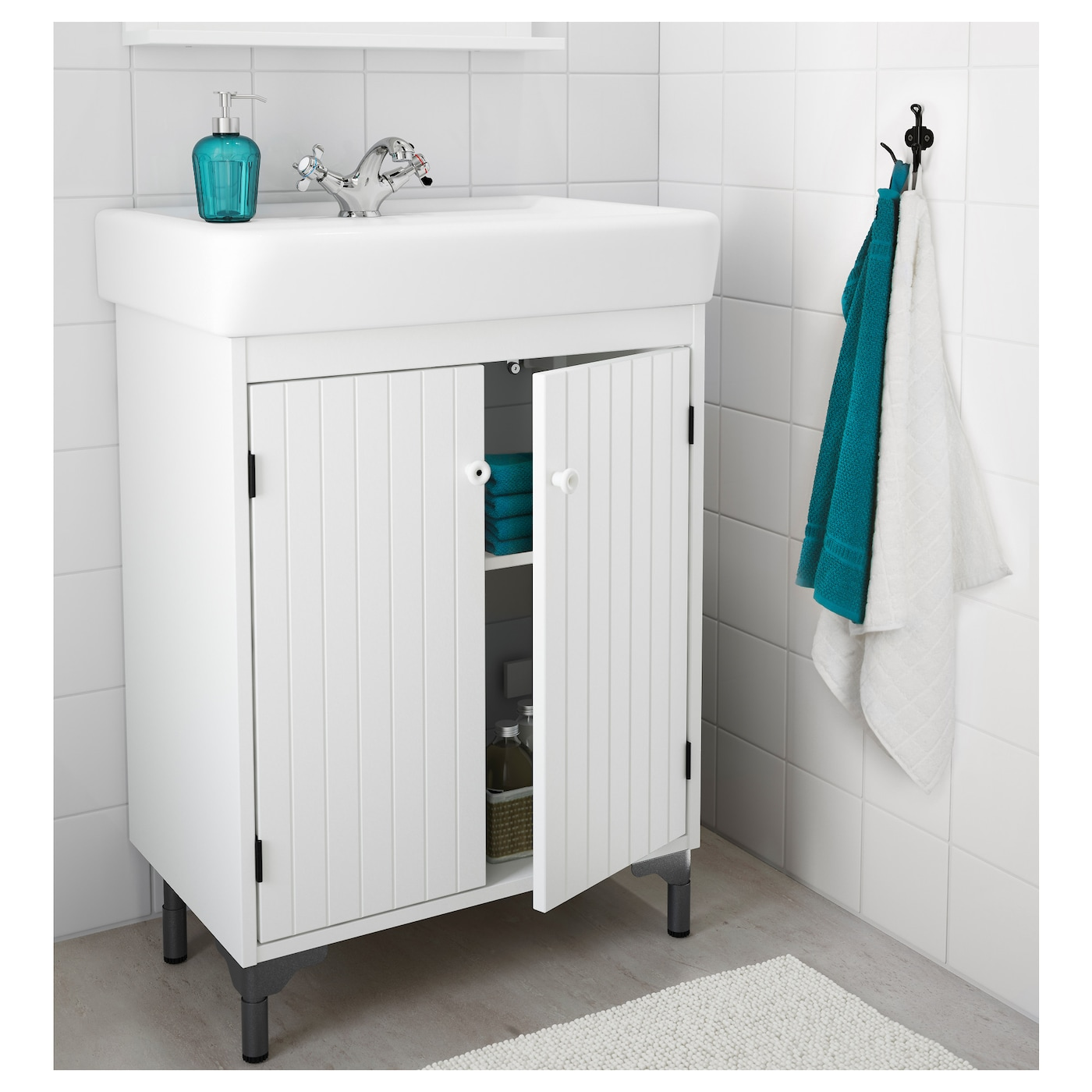 IKEA SILVERÅN/HAMNVIKEN wash-basin cabinet with 2 doors A good solution if you are short of space.