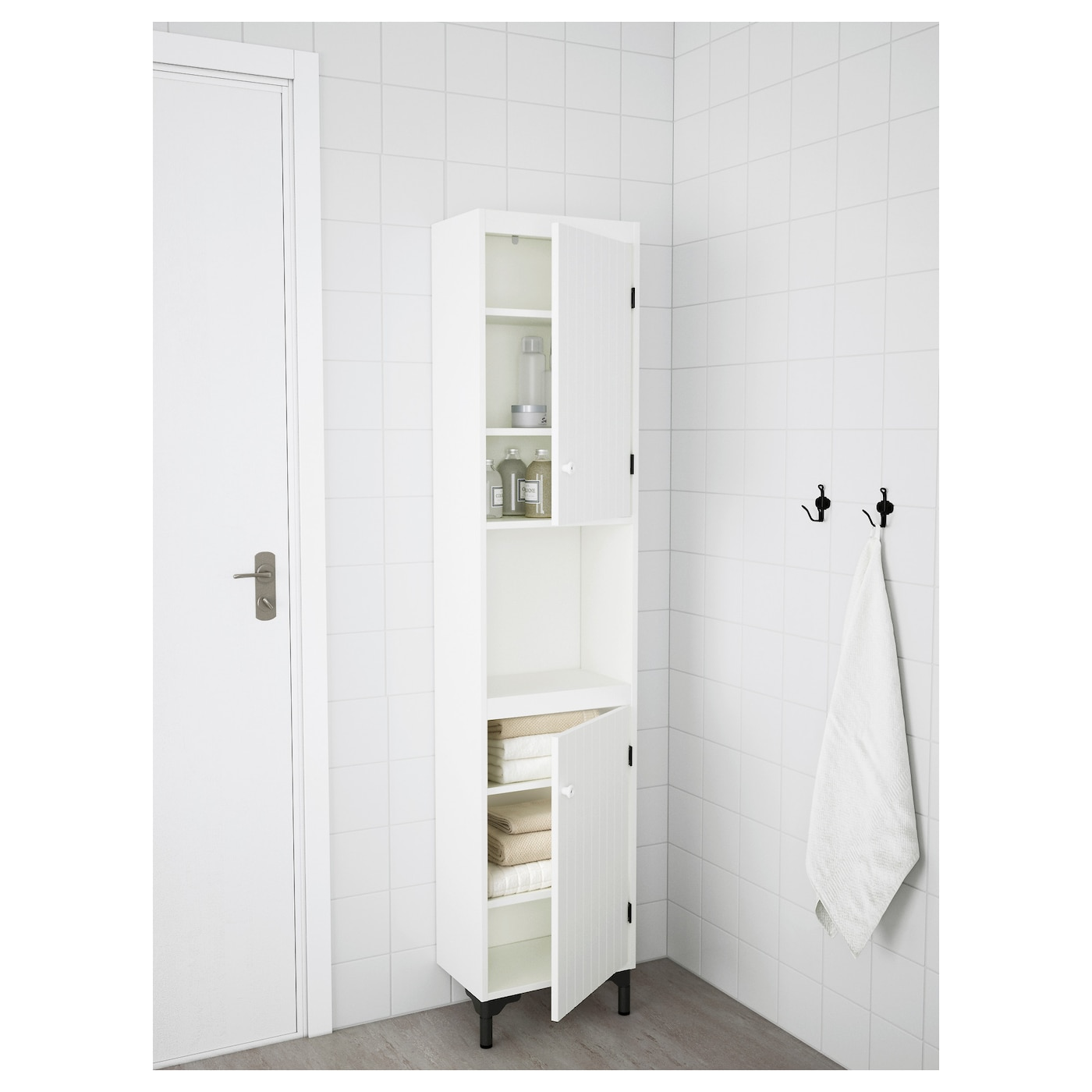 SILVERÅN High cabinet with 2 doors White 40x25x172 cm - IKEA