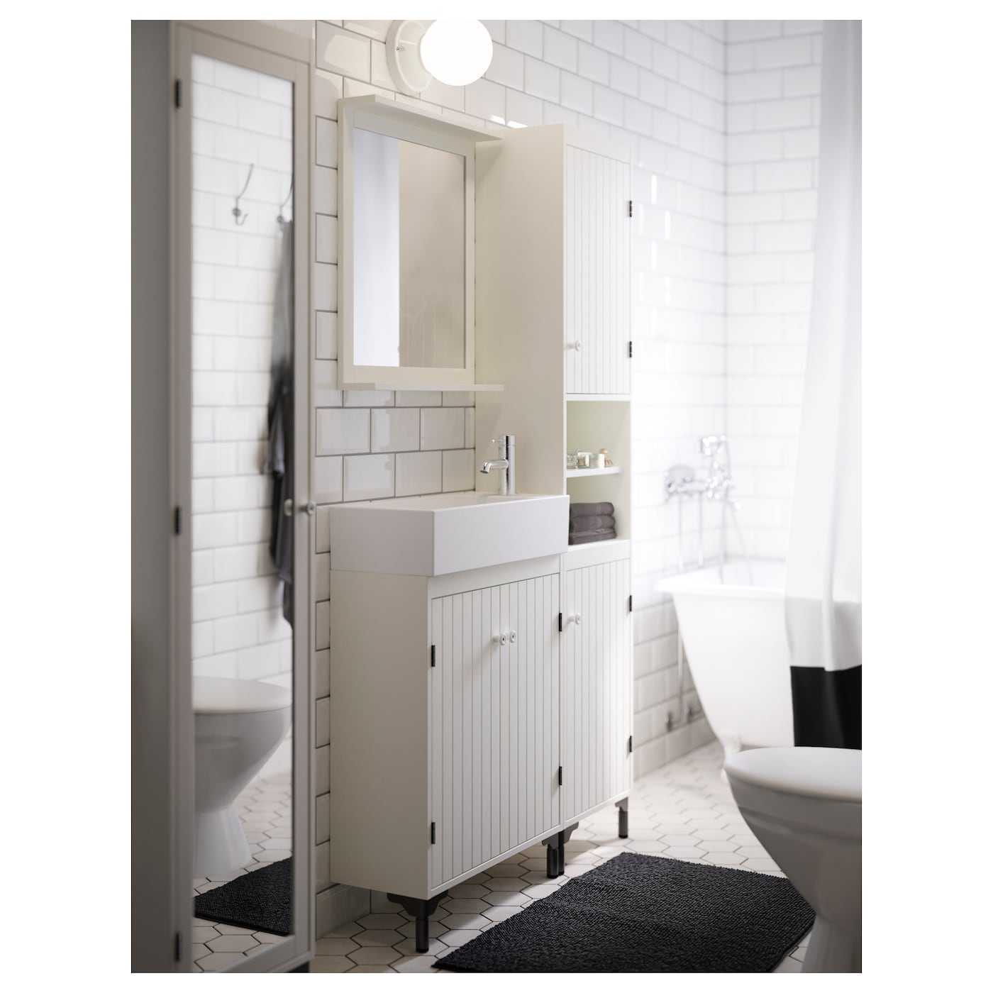 IKEA SILVERÅN high cabinet with mirror door You can mount the door to open from the right or left.