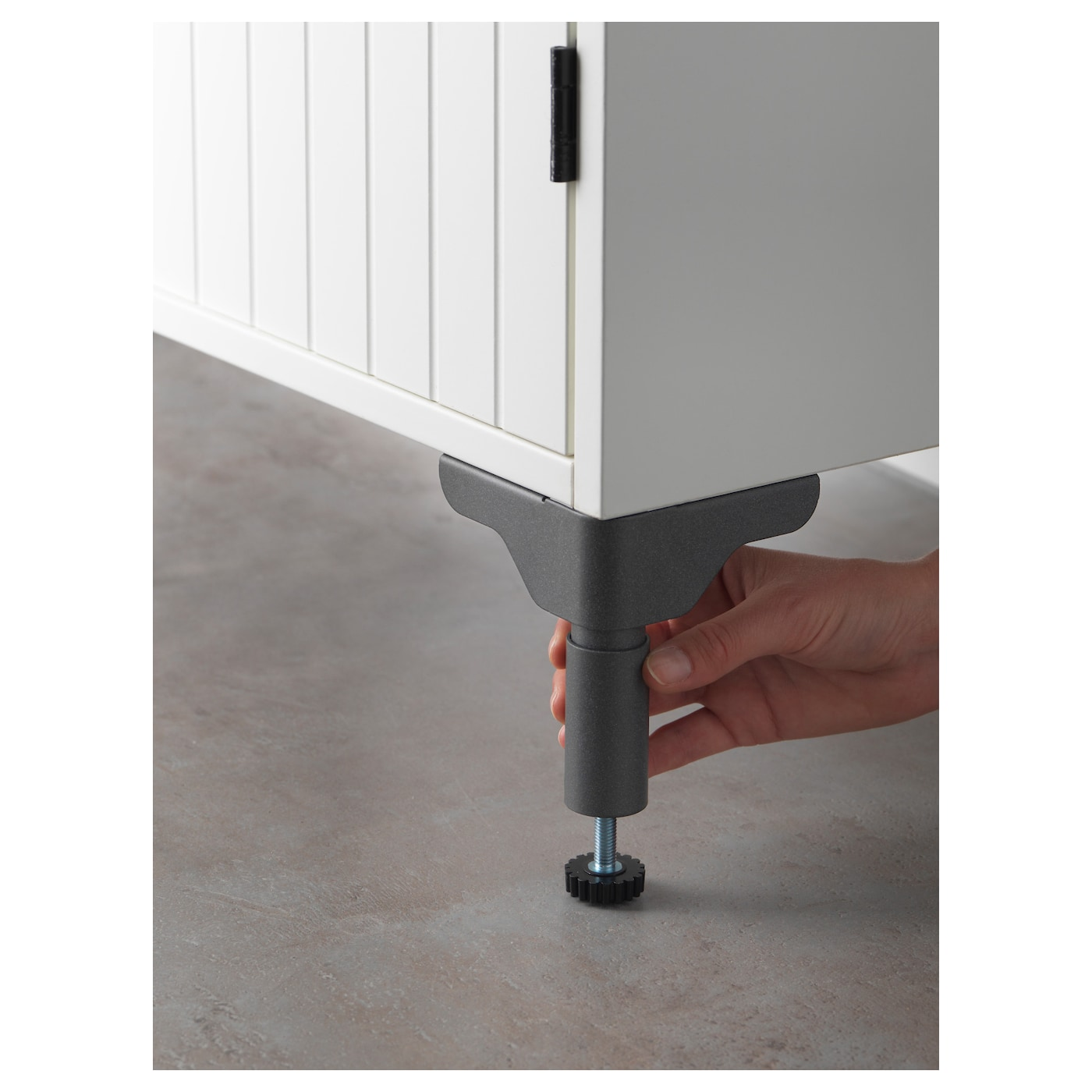 IKEA SILVERÅN leg Adjustable feet for increased stability and protection against floor moisture.