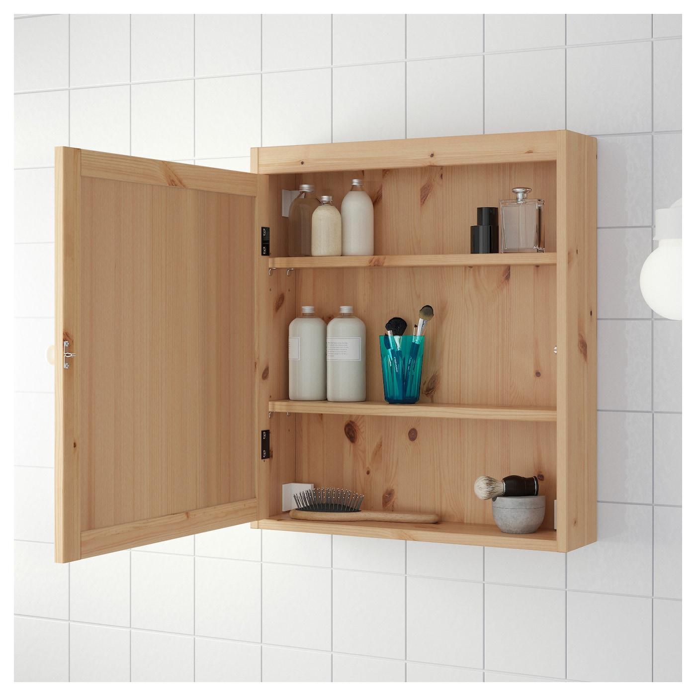 Silver N Mirror Cabinet Light Brown 60 X 14 X 68 Cm Ikea