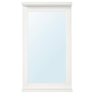 SILVERÅN Mirror with shelf, white, 36x64 cm