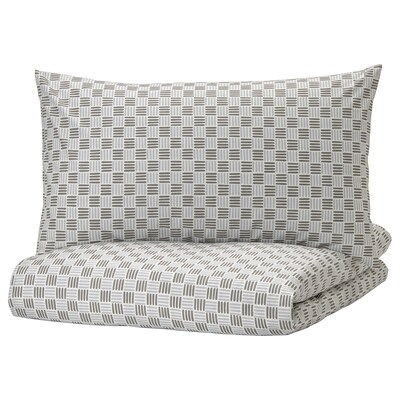 SILVERFRYLE Quilt cover and 2 pillowcases, white/grey, 200x200/50x80 cm