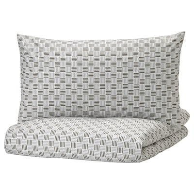 SILVERFRYLE Quilt cover and pillowcase, white/grey, 150x200/50x80 cm