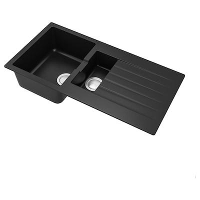 SINKSJÖN Inset sink 1 1/2 bowl, black quartz composite, 100x50 cm
