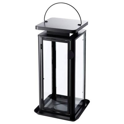 SINNESRO Lantern f block candle, in/outdoor, grey, 45 cm