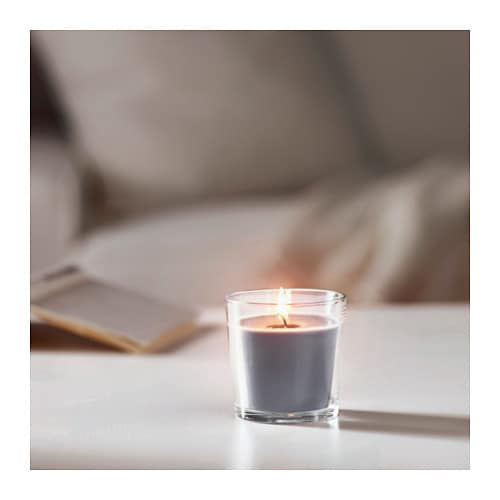 Sinnlig scented candle in glass calming spa grey 7 5 cm ikea for Spa smelling candles