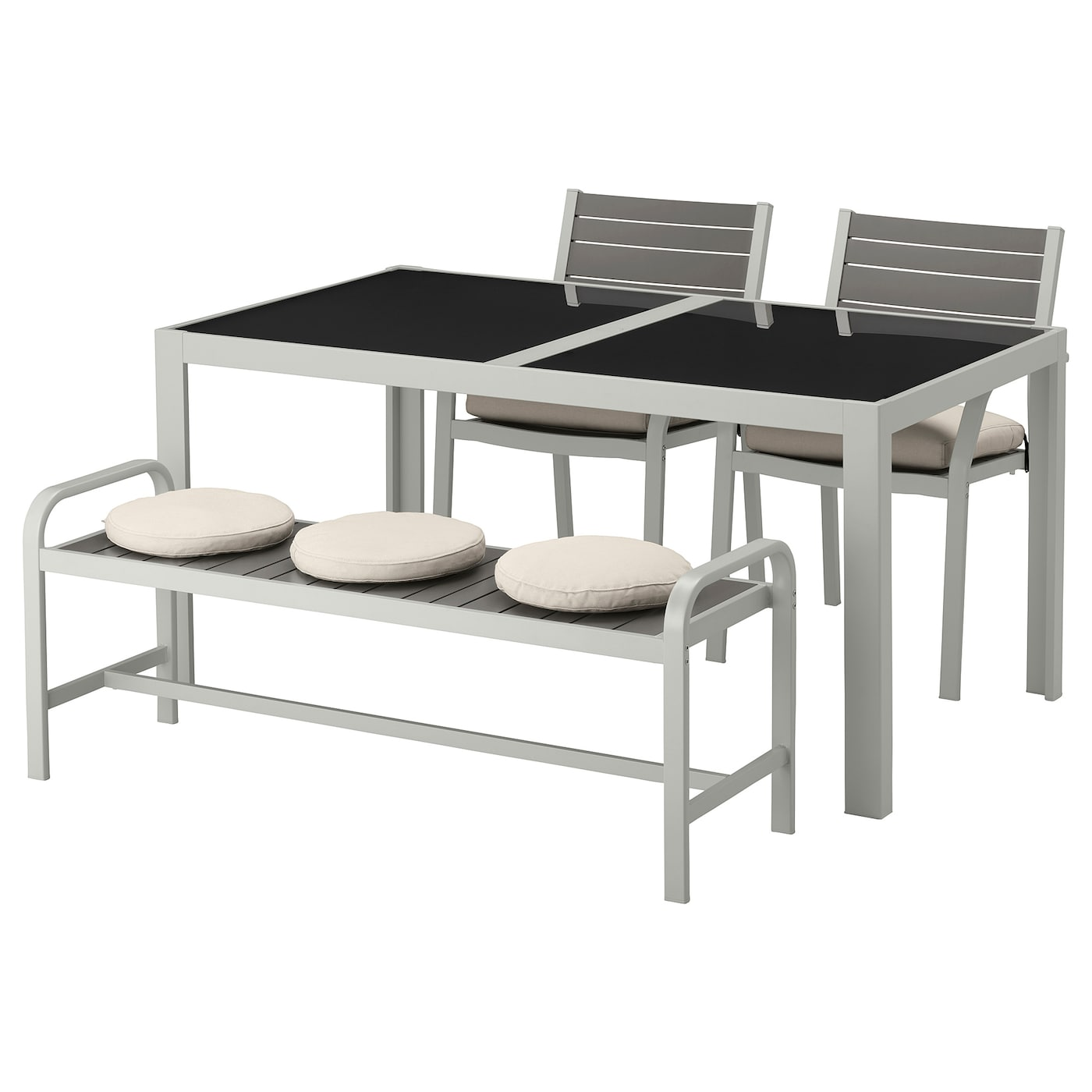 IKEA SJÄLLAND table+2 chairs+ bench, outdoor Easy to keep clean – just wipe with a damp cloth.