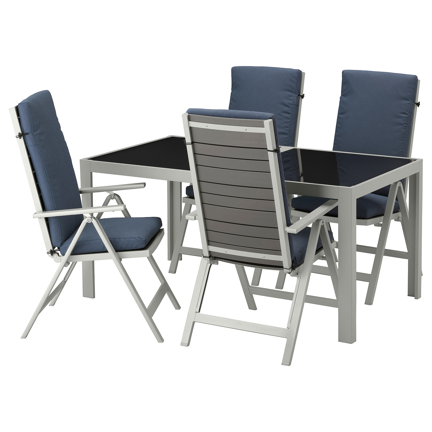 IKEA SJÄLLAND table+4 reclining chairs, outdoor Easy to fold up and put away.