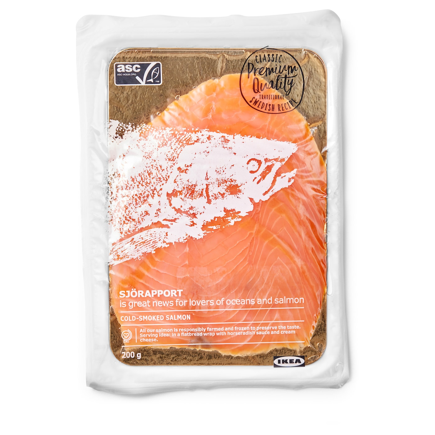 IKEA SJÖRAPPORT cold smoked salmon Salmon is a good source of protein and Omega-3 fatty acids.