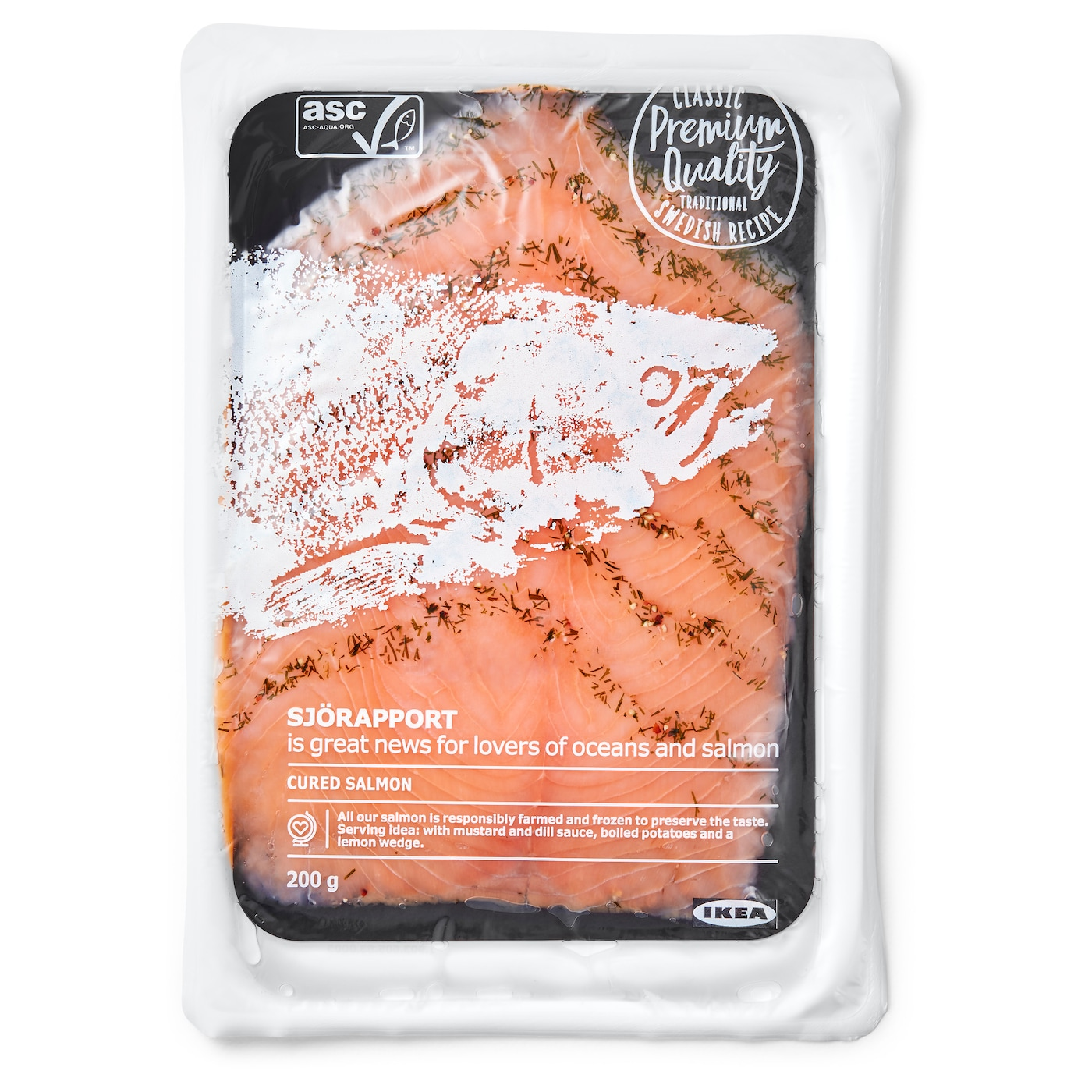 IKEA SJÖRAPPORT cured salmon Salmon is a good source of protein and Omega-3 fatty acids.