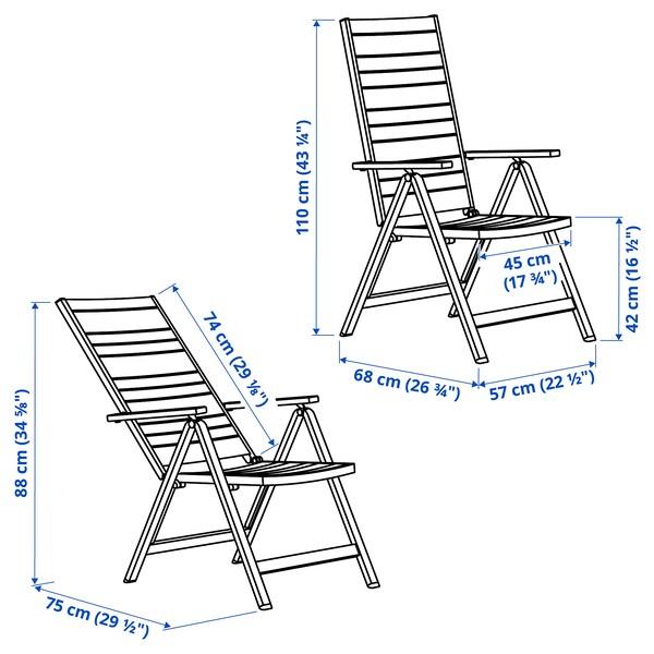 SJÄLLAND Reclining chair, outdoor, light grey foldable/dark grey