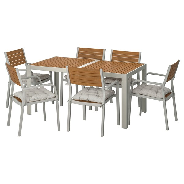 SJÄLLAND table+6 chairs w armrests, outdoor light brown/Kuddarna grey 156 cm 90 cm 73 cm