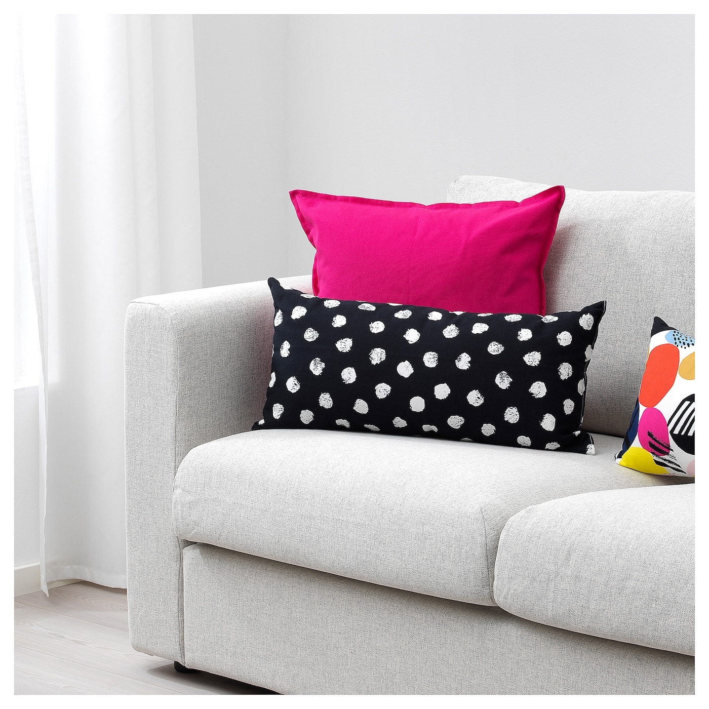 IKEA SKÄGGÖRT cushion The polyester filling holds its shape and gives your body soft support.