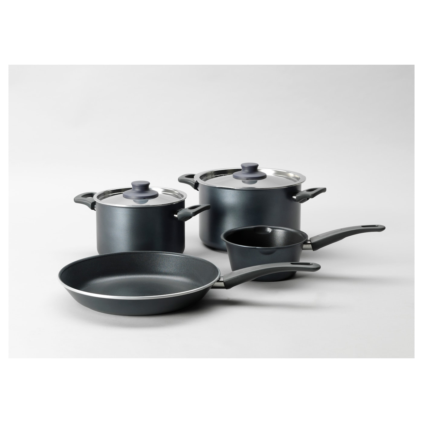 IKEA SKÄNKA 6-piece cookware set Comfortable handles make the cookware easy to lift.