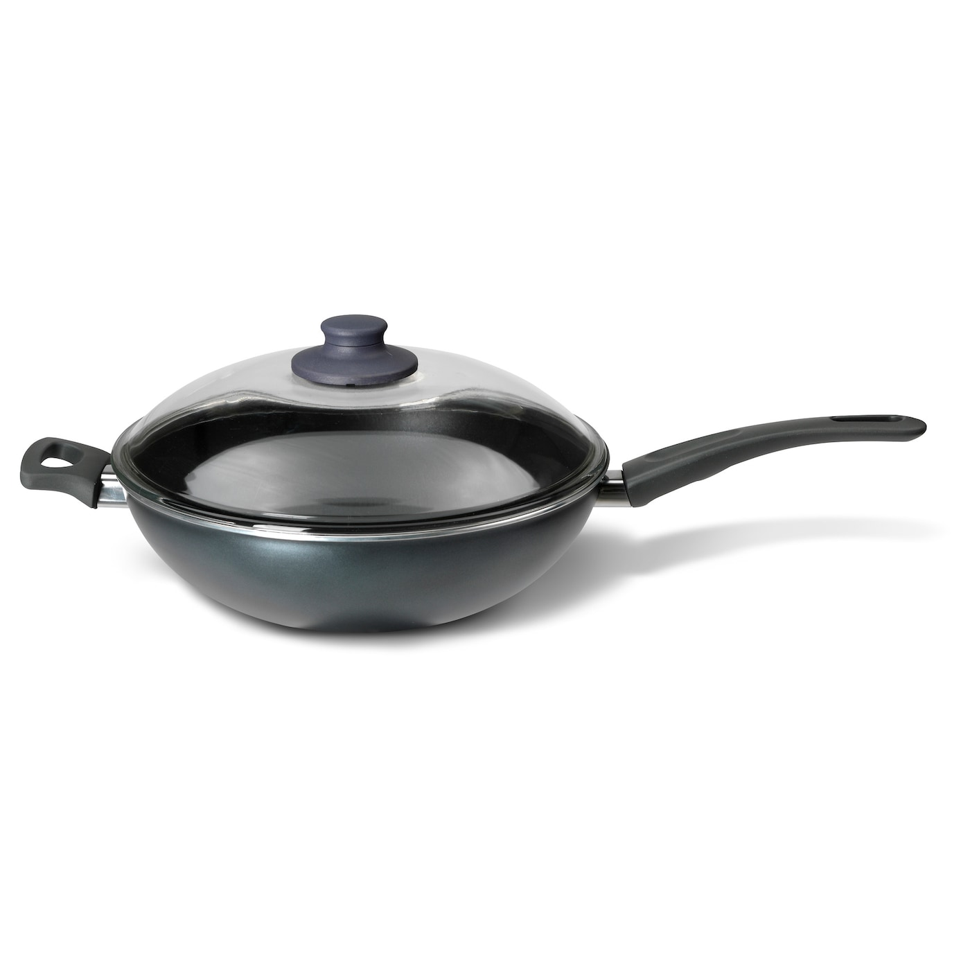 IKEA SKÄNKA wok with lid Comfortable handles make the cookware easy to lift.