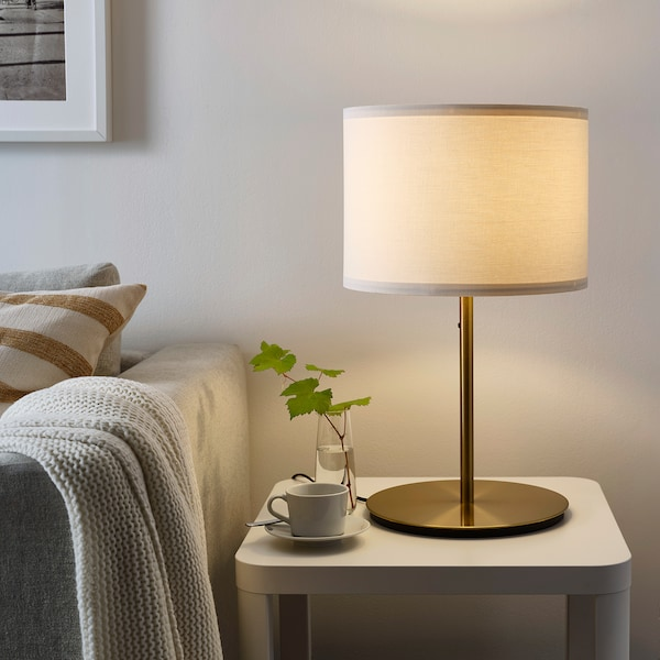 SKAFTET Table lamp base, brass-colour, 38 cm