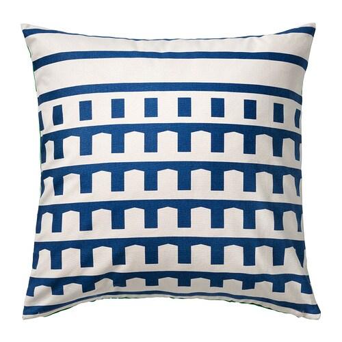 SKÄRBLAD Cushion cover, blue, green