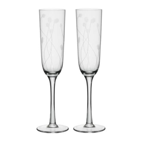 SKIR Champagne glass IKEA The glass is mouth blown by a skilled craftsperson and has a handmade decor, making each glass unique.