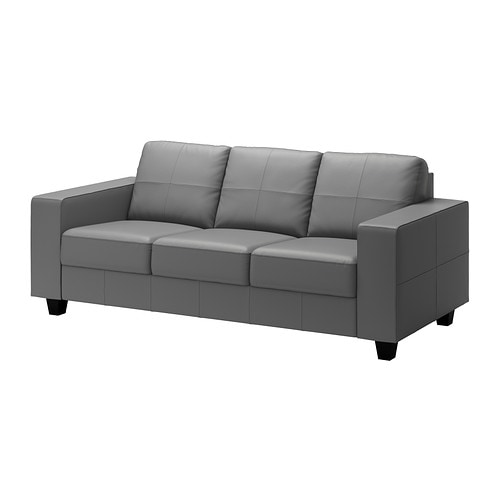 SKOGABY Three-seat sofa IKEA Contact areas with soft, dyed-through 1.  2 mm thick grain leather that is supple and smooth to the touch.