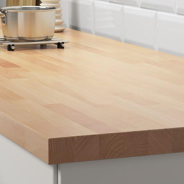 SKOGARP Custom made worktop, beech/solid wood, 45.1-63.5x4.0 cm